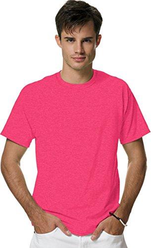 Hanes Men's X-Temp Crewneck Short-Sleeve T-Shirt (Large), Neon Pink Heather (Shirt Pink Tee)