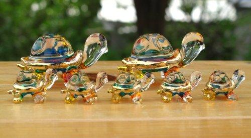 Set 7 Handmade Turtle Art Glass Blown Wild Animal Figurine - Turtle Family