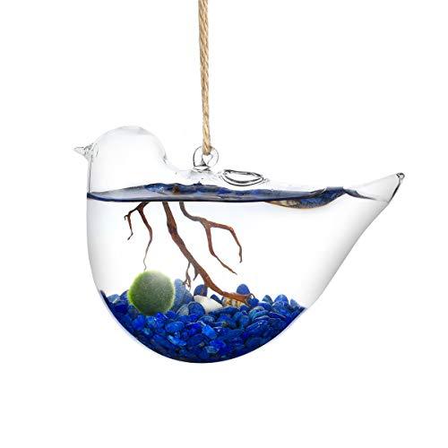 Bird Planters, Set of 3 Hand Blown Glass Bird Vases, Hanging Water Vases, Hanging Glass Planters, Hydroponic Glass Vase for Indoor Decorations ()