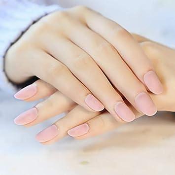24 uñas postizas de color crema mate con pegamento, diseño ...
