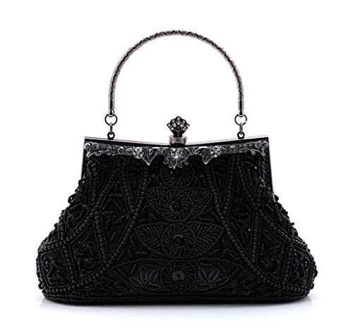 Jopchunm Beaded Sequined Evening Bags Wedding Party Top Handle Satchel Handbags Clutches Crossbody Purses for Women Small