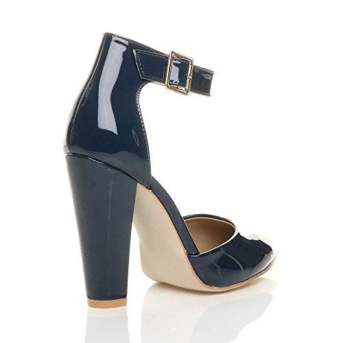 Chaussures Escarpins Bleu Foncé Marine Haute Femmes Pointure Verni Large Boucle Pointu Talon Lanière wRWq0xYB