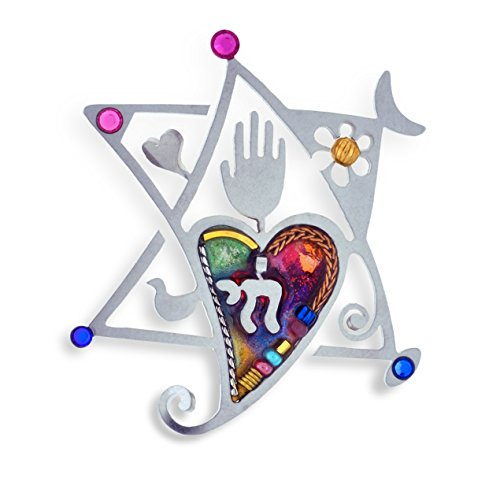 The Artazia Collection Seeka Star, Heart & Chai Judaic Love Pin P0454 (Collection Judaic)