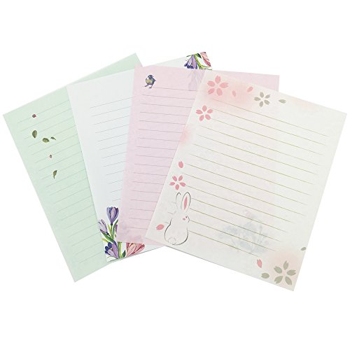 QingLanJian 16 Pretty Flower Small Letter Writing Lined Paper and 8 Envelopes Stationary Set with Matching Seal Stickers