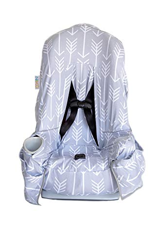 Niko Easy Wash Children's Car Seat Cover & Liner - Cotton Jersey Grey/White Arrow Pattern - Universal FIT - Crash Tested - Waterproof SEAT Bottom - Mess Protection - Easy - Liner Jersey