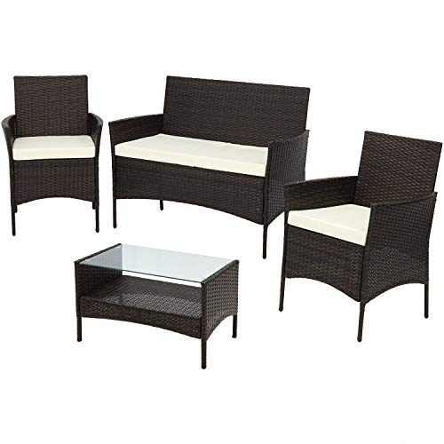 Sunnydaze Galway 4-Piece Rattan Outdoor Patio Furniture Set with Cushions from Sunnydaze Decor