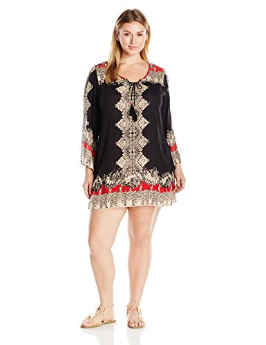 Angie Women's Plus Size Printed Bell Sleeve Dress, Black/Sand, 3X