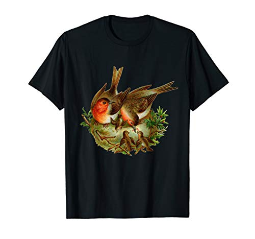 Vintage Robin Redbreast Birds in Nest  T-Shirt