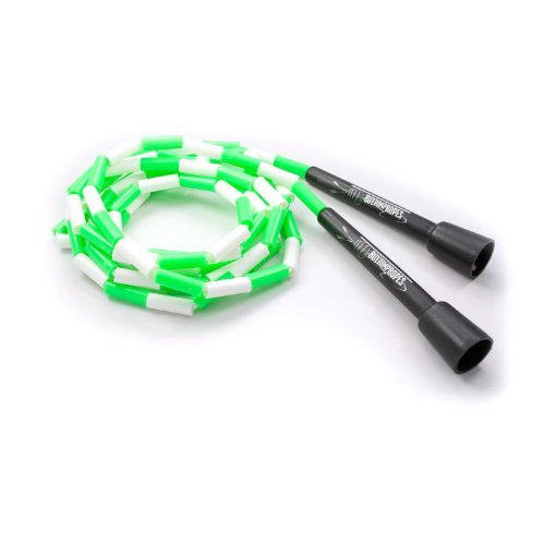 BuyJumpRopes Segmented Jump Rope (green white, 8 ft)