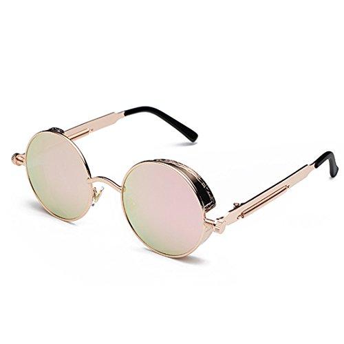 Gafas Marco Rosa Oro de Rosa Inlefen de de sol círculo Gafas color metal moda de de de retro sol Lente fwqYwdU