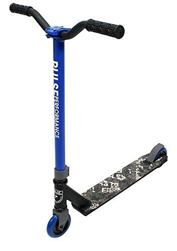 Pulse Performance Burner Pro Freestyle Kick Scooter Fast Bearings, BMX wheels 100mm Blue