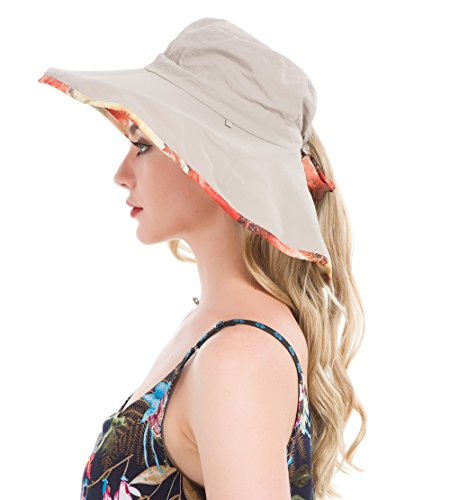 (Lenikis Women's UPF50+ Sun Hat Wide Brimmed UV Protection Flap Hat with Ponytail Hole Khaki)