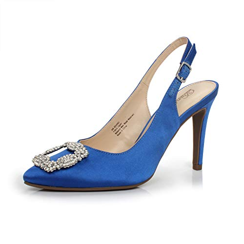 i Point Toe Rhinestone Buckle Satin Sling Back Stiletto High Heel Dress Pump,Brandi Royal Blue,7 B(M) US ()