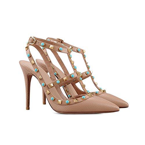 MERUMOTE - Zapatos de vestir de Material Sintético para mujer 46 Aprikose-Linien