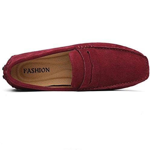 Hishoes Mocassins Suedé Hommes Loafers Conduite Flâneurs Classic Chaussures de Ville Bateau Vin rouge YqkuAgKIa