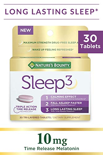 Nature's Bounty Sleep3 Tri-Layer Melatonin, With L-Theanine & Nighttime Herbal Blend, for Long Lasting Sleep for Occasional Sleeplessness* with Time Release 10mg of Melatonin, 30 count