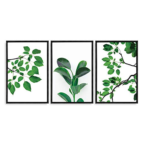 Framed for Living Room Bedroom Green Plants Theme for ation x3 Panels