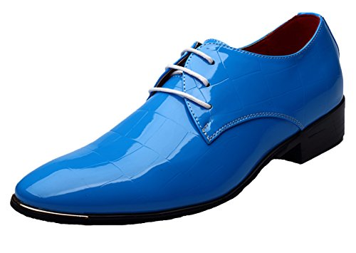 Santimon Men Fashion Shoes Pointed Toe Patent Leather Lace Up Dress Oxford Derby Black Blue Red Blue
