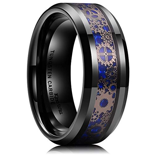 King Will Gentleman Mens 8mm Black Tungsten Carbide Ring Gearwheel Blue Carbon Fiber Background Inlay Wedding Band 9