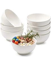 EZOWare Set of 8 440ml Bowl Set, Round Dish Bowls for Dessert, Soup, Snacks, Cut Fruit, Salad (12.7 x 6.3 cm) - White