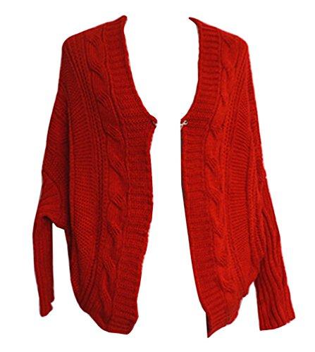 Veste En Tricot Femme Manches Longues Manteau Chandail Chaud Cardigan Hiver Lache Gilet Pull Jumper Sweats Coat Rouge