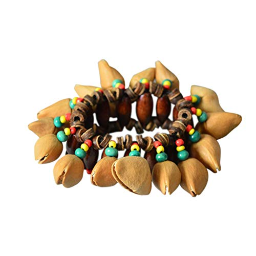 TOPmountain African Drums Hand Jewelry - Unique African Nutshells Crackle Bracelet Elastic Beads Chain Hand Decor