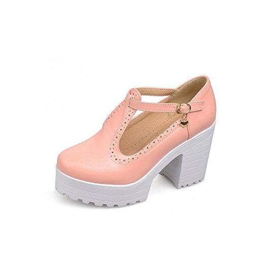 Solid Rubber BalaMasa High Pink Pumps Heels Womens Buckle Shoes 5wvv6nAgqW