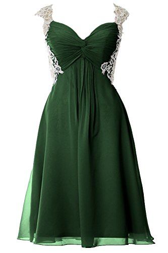 MACloth Women Lace Straps Chiffon Short Prom Dress Formal Party Evening Gown Verde Oscuro