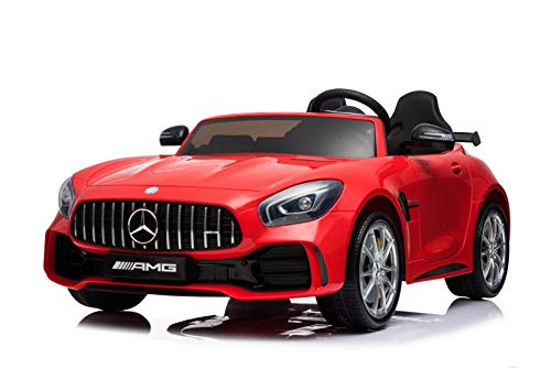 First Drive Mercedes Benz GTR Red 2 Seater - 12v Kids Cars - Dual Motor Electric Power Ride On Car with Remote, MP3, Aux Cord, Led Headlights and Rear Lights, and Premium Wheels