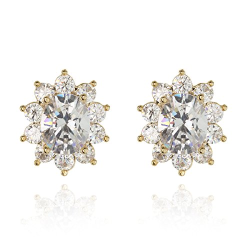 SP Sophia Collection Women's Cubic Zirconia Gold Plated Floral Halo Stud Clip On Earrings in Gold