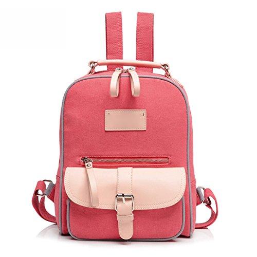 Mädchen-Art- Und Weisebeiläufiger Schulter-Beutel-Handtaschen-Dame Segeltuch-Rucksack,Red Red