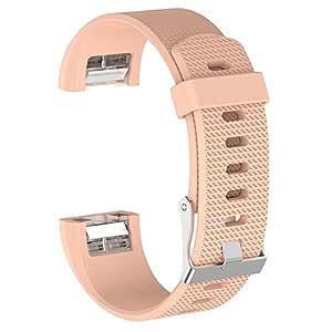 Fitbit CHARGE 2 Uyumlu Markacase SMALL Beden (S Size ) Silikon Kordon (Krem)