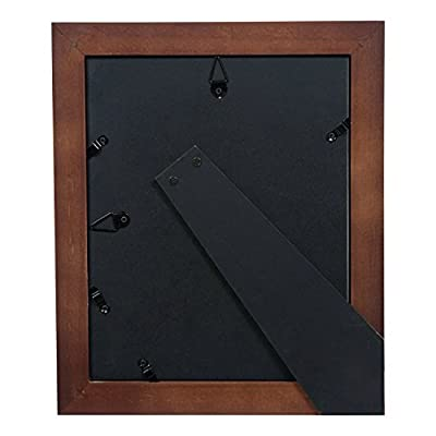 """Gallery Solutions Photo 5x7 Flat Walnut Tabletop or Wall Frame with Double White Mat for 4x6 Picture, 5"""" x 7"""", Gray"""