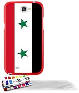 """Carcasa Flexible Ultra-Slim SAMSUNG GALAXY NOTE 2 de exclusivo motivo [Bandera Siria] [Roja] de MUZZANO  + 3 Pelliculas de Pantalla """"UltraClear"""" + ESTILETE y PAÑO MUZZANO REGALADOS - La Protección Antigolpes ULTIMA, ELEGANTE Y DURADERA para su SAMSUNG GALAXY NOTE 2"""