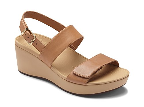 Vionic Women's Atlantic Lovell Toe-Post Platfom Wedge Sandal Tan 6 M US