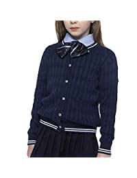 BOBOYOYO Girls Sweater School Uniform Cardigan Long Sleeve Crew Neckline Cotton Cable Knit Sweater with Stripes 6-14Y