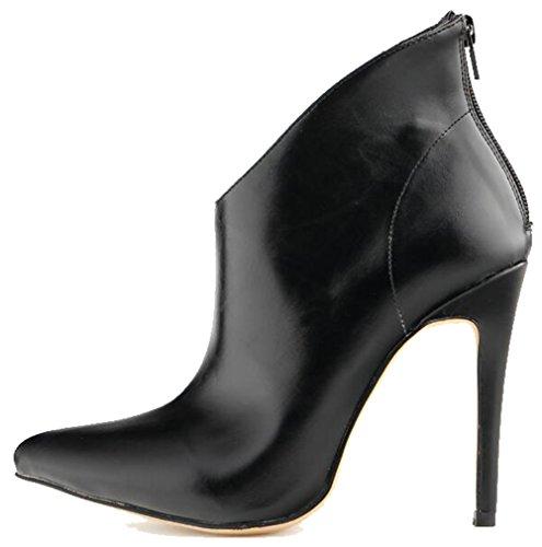 Aisun Stiletto High Toe Heel Zipper Top Elegant Pointed Women's Boots Black High AT8SA