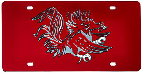 Rico (LZC120101) NCAA South Carolina Fighting Gamecocks Laser Cut License Plate, Red