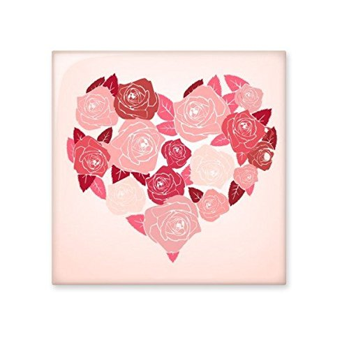 Valentine's Day Pink Heart Shaped Roses Leaves Illustration Pattern Ceramic Bisque Tiles for Decorating Bathroom Decor Kitchen Ceramic Tiles Wall Tiles well-wreapped