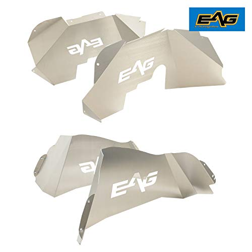 (EAG 07-18 Jeep Wrangler JK Front and Rear Inner Fender Liners Kits Silver)