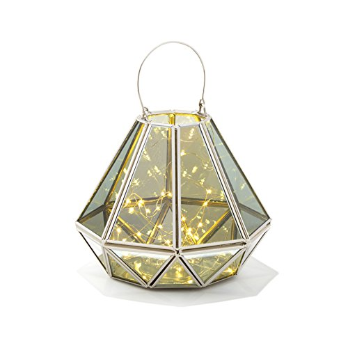Decorative Geometric Terrarium Lantern - Diamond Shape | Warm White LED Fairy Lights, Mirrored Glass, Battery Operated, Indoor Use by LampLust