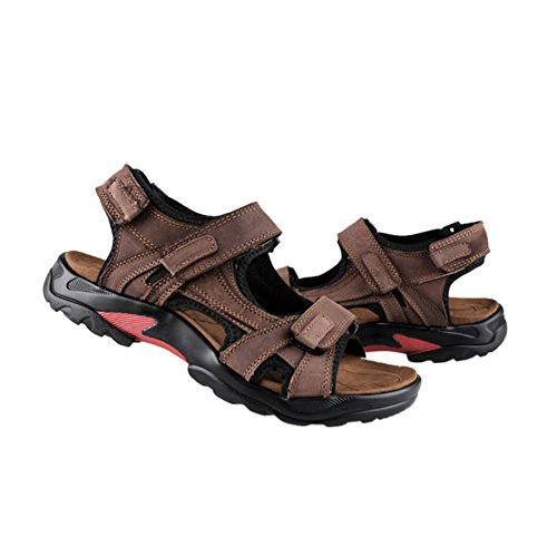 Slippers Casual Haodasi Sports Shoes Anti Outdoor Fashion Men Brown skid Sandals Beach Leather qqxwZzTr