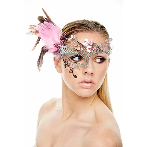 KII Coquettish Silver Masquerade Mask with Pink Feathers and Rhinestones (Unisex One (Pink Feather Mask)
