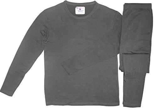 Therma Tek Men's Ultra-Soft Tagless Fleece Lined Thermal Top & Bottom Underwear Set, Gray, Large