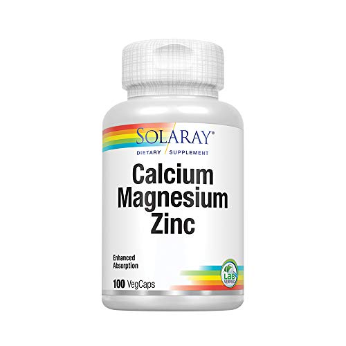 Solaray Calcium, Magnesium, Zinc Capsules, 100 Count