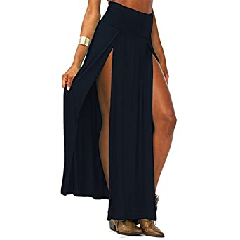 Style Creek Women's High Waist Double Slit Maxi Skirt at Amazon ...