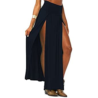 MEXI Colorful Popular Trends High Waisted Double Slits Sexy Women Maxi Skirt Black