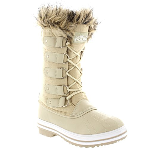 Polaire Producten Dames Lace-up Rubberen Zool Tall Winter Snow Rain Shoe Boots Beige Suede