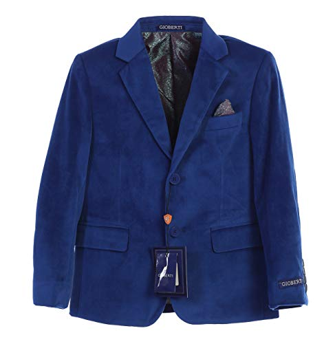 Gioberti Big Boys Formal Velvet Blazer with Solid Buttons, Royal Blue B, Size 20