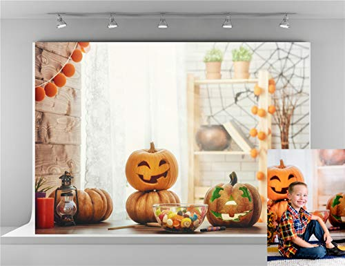 Kate 7x5ft-2.2x1.5m Cute Candy Pumpkin Photo Background Halloween Wood Wall Spider Web White Brick Wall Photography Backdrops Photographer Studio Props Backgrounds ()